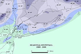 Seasonal snowfall totals for Long Island and vicinity, winter of 2008-2009