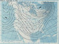 January 13, 1978, 7:30 AM 500 millibar height contours.  Courtesy NOAA Central Library Data Imaging Project.