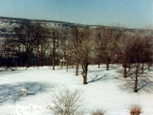 Riverdale, NY.  Looking across the Hudson River towards the Palisades after the Blizzard of 1983