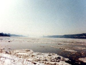 Riverdale, NY.  Looking down the Hudson River towards the George Washington Bridge after the Blizzard of 1983