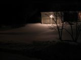 New snow blown across a driveway in Smithtown on the evening of March 8, 2005