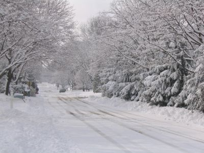 Street in Smithtown after fifth snowstorm in 3 weeks, March 12, 2005
